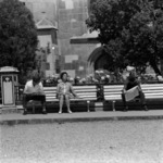 students' city with long-focus lens, girls, refreshing drinks