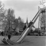 Călăţele, Library, children playing on slide, Aghireş